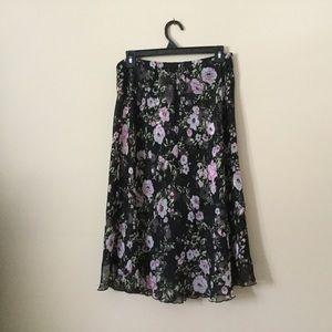 Flowered skirt black background